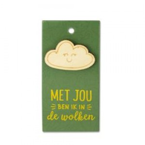 Houten Broche in de wolken